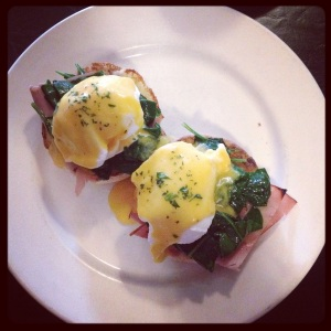 Eggs Benedict, presented lovely: fresh and hot.