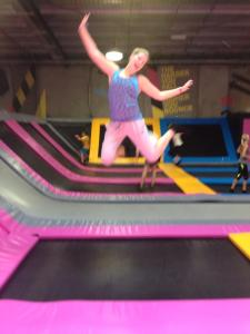 Blurry, but loving bouncing on the trampolines