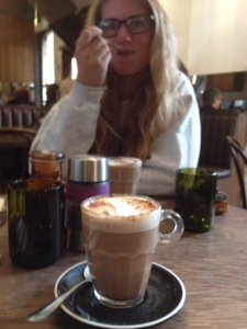 Lyds getting stuck into her mocha: so much for not liking coffee...