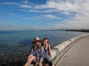 I love this photo of Lucy and I, with Melbourne in the background.